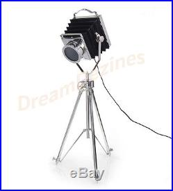 Classic Theatre Spot Light with Solid Wooden Tripod Floor Lamp Vintage/Retro