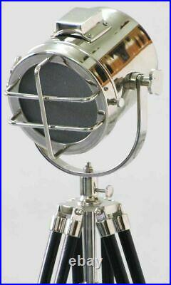 Collectible Spotlight Table Lamp Searchlight Chrome With Wood Tripod Home Decor