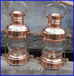 Copper Brass Anchor Oil Lamp Nautical Maritime Ship Lantern Boat Antique Light