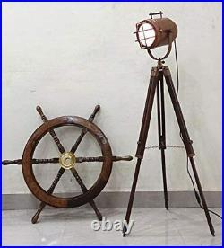Copper Finish Antique Marine Tripod Office Floor lamp Nautical Gift Items