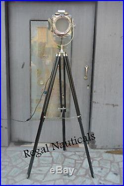 DESIGNER Chrome Nautical SPOT LIGHT Vintage Decor Industrial Tripod Floor LAMP