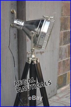 DESIGNER Chrome Nautical SPOT LIGHT Vintage Industrial Tripod Floor LAMP Decor