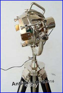 DESIGNER Vintage Industrial Chrome Nautical SPOT LIGHT Tripod Floor LAMP Decor