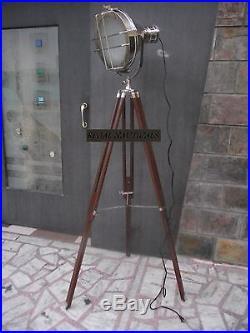 Designer Chrome Nautical SPOT LIGHT Tripod Floor LAMP vintage Industrial Light