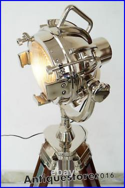 Designer Chrome Vintage Industrial Nautical Spot Light Tripod Floor Lamp Decor