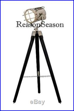 Designer Vintage Style Tripod Floor Lamp Large Marine Nautical Search Light