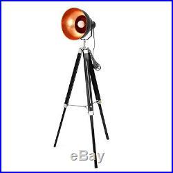 E27 Tripod Floor Lamp Nautical Spotlight Vintage Studio Wooden Light