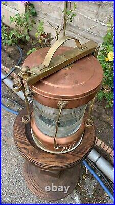 Fantastic Vintage Nautical Copper Brass Glass Boat Ship Light Lantern Clear (C1)