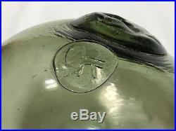 Fishing Float Buoy Ball Japanese MARK Vintage Genuine Glass Dark Light Green 9.8
