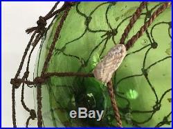Fishing Float Buoy Ball Japanese Vintage Genuine Glass Dark Light Green NET 12in