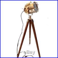 Floor Lamp Vintage Wooden Nautical Spotlight Tripod Lighting Theater Dim Light