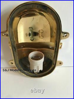 Gold Brass Industrial Bulkhead Wall Light Ceiling Vintage Antique Ship Lamp Old