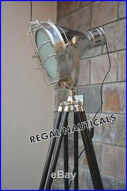 Hollywood Chrome Nautical spot light Vintage Industrial Tripod Floor lamp Decor