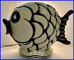 Htf Vintage Large Fish Tv Lamp Night Light Nautical Beach Decor MCM Pottery