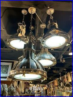 Industrial Nautical Ship Light Silver, Small Metal Vintage Lighting