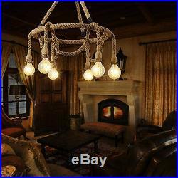 Industrial Pendant Lamp Vintage Edison Nautical Manila Rope Ceiling Light 60cm