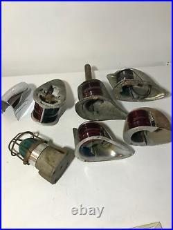 LOT of Vintage Bow Navigation Lights Nautical Marine Perko Boat Lamps Signals