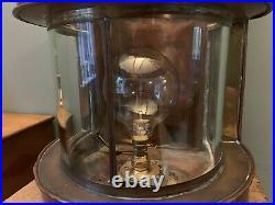 Large Antique Maritime Vintage Brass & Copper Ships Lamp Edison Light Conversion