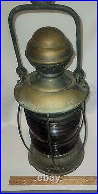 Large Old Vintage Nautical Brass Ships Lantern/light