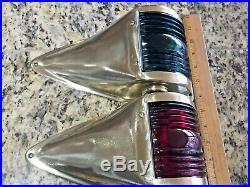 Large Pair Vintage Polished Brass Side Mount Running Lights Glass Low Draw Leds