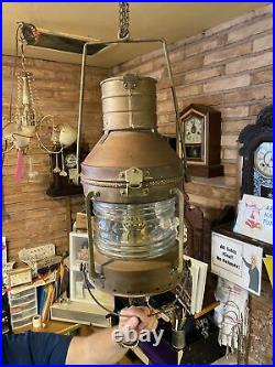 Large Vintage Brass Anchor Ship Oil Lantern Light Glass Chimney Single Wick