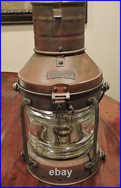 Large Vintage Brass Anchor Ship Oil Lantern Light Glass Chimney Single Wick NICE