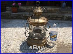 Large Vintage Brass Nautical Ships Lantern Lamp W. S. Ray Maritime Light Yacht