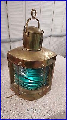 Large Vintage Brass Ship Oil Lantern Light. Green glass lens