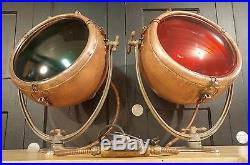 Large Vintage Copper 1930s Nautical Ship Navigation Lights GE Novalux -RESTORED