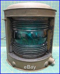 Large Vintage Perko Brass Maritime Nautical Navigation Starboard Corner Light