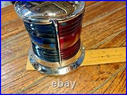 Lg. Vintage Heavy Cast Chromed Bronze Bow Light Red/green Glass Lens Led 9 Long