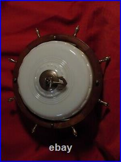 Lightolier Ship Wheel Maritime Nautical Ceiling Light Fixture VINTAGE 40s/50s
