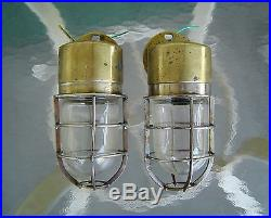 Lot of 2 Vintage Nautical Cast Brass Ship's Wall Lights Rewired