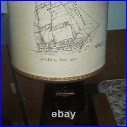 MID Century Nautical Lamp Wood Sea Ship Vtg Table Light Whaling