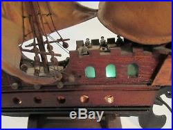 Model Pirate Ship Vintage Alcatraz 1935 Antique Lights Up Hand Made Folk Art