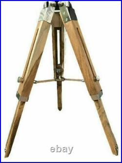 Modern vintage search light floor lamp nautical spotlight on wooden tripod stand