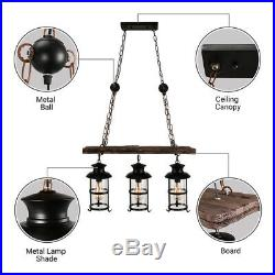 Nautical 3 Lights Glass Lantern Pendant Light Vintage Island Wooden Chandelier