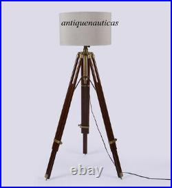Nautical Antique Floor Shade Lamp Brown Wooden Tripod Stand Handmade Home Decor
