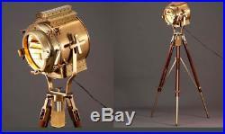Nautical Antique Vintage Industrial Designer Spot Light Tripod Floor Lamp Retro