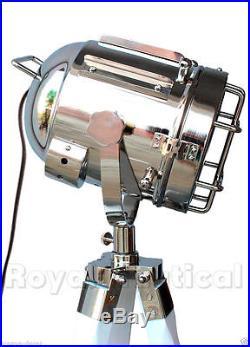 Nautical Antique Vintage Look Spotlight Search Light Wooden Tripod Floor Lamp