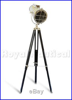 Nautical Chrome Vintage Spotlight Searchlight Wooden Tripod Lighting Floor Lamp