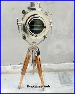Nautical Designer Brass Floor Lamp With Tripod Vintage Search Light