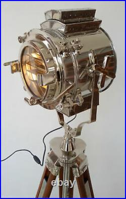 Nautical Hollywood floor Searchlight Lamp Theater Spot Light With Wooden Tripod