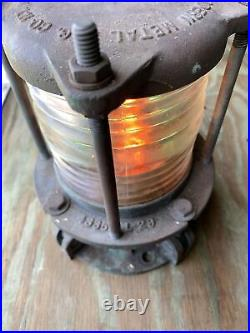 Nautical Marine Bronze Piling Post Dock Light # 98-4335 Vintage Original NICE