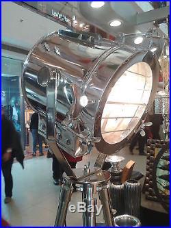Nautical Studio Chrome Tripod Floor Lamp Vintage Industrial Spot Light Lamp