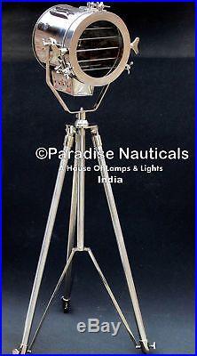 Nautical Studio Chrome Tripod Floor Lamp Vintage Industrial Spot Light UK