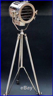 Nautical Studio Chrome Tripod Floor Lamp Vintage Industrial Spot Lighting Lamp