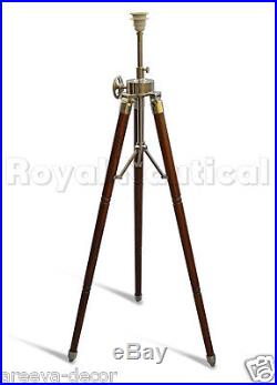 Nautical Teak Wood Light Vintage Floor Lamp Wooden Tripod Stand Use With Shade