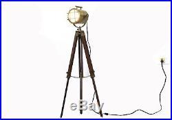 Nautical Vintage Antique Floor Lamp Wooden Tripod Lighting Spotlight/Searchlight