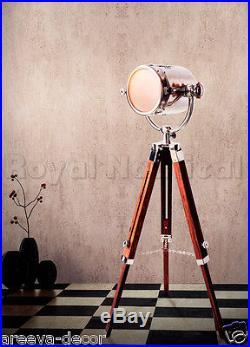 Nautical Vintage Chrome Spotlight Searchlight Wooden Tripod Lighting Floor Lamp
